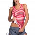 Active Striped Racerback Tankini and Swim Shorts