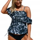 Rock Solid Off-The-Shoulder Tankini Swimsuit Black