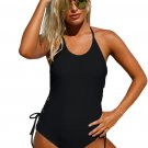 Black Halter Neck Lace up Sides Monokini