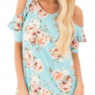 Light Blue Floral Cold Shoulder Top with Ruffle Sleeve