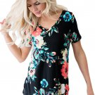 Big Floral V Neck Short Sleeve T-shirt