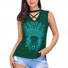 Green Crisscross V Neck Printed Sleeveless Choker Tank Tops