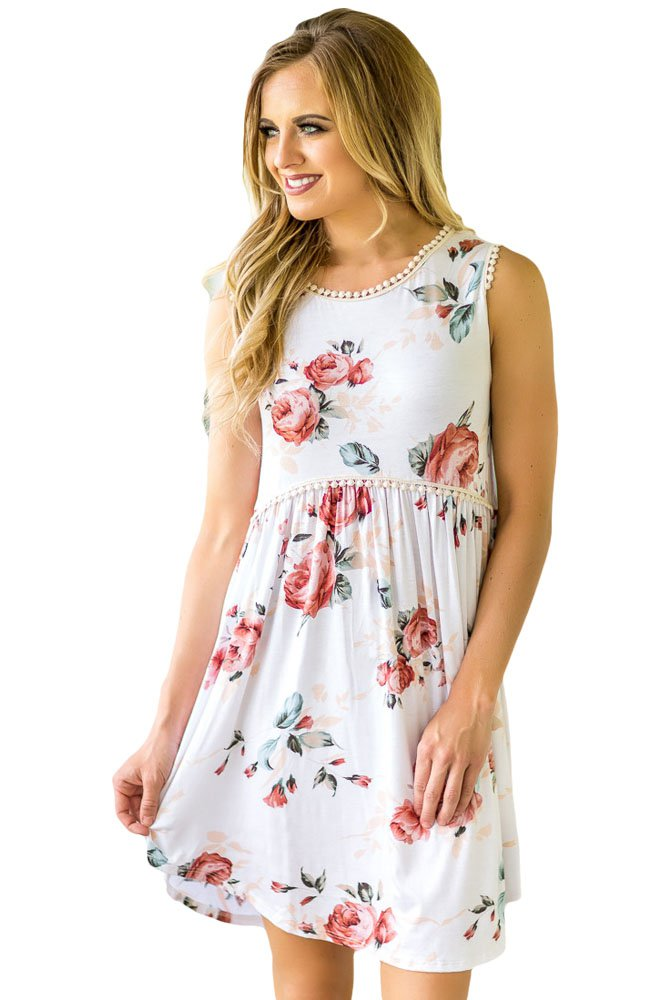 White Lace Trim Floral Boho Dress