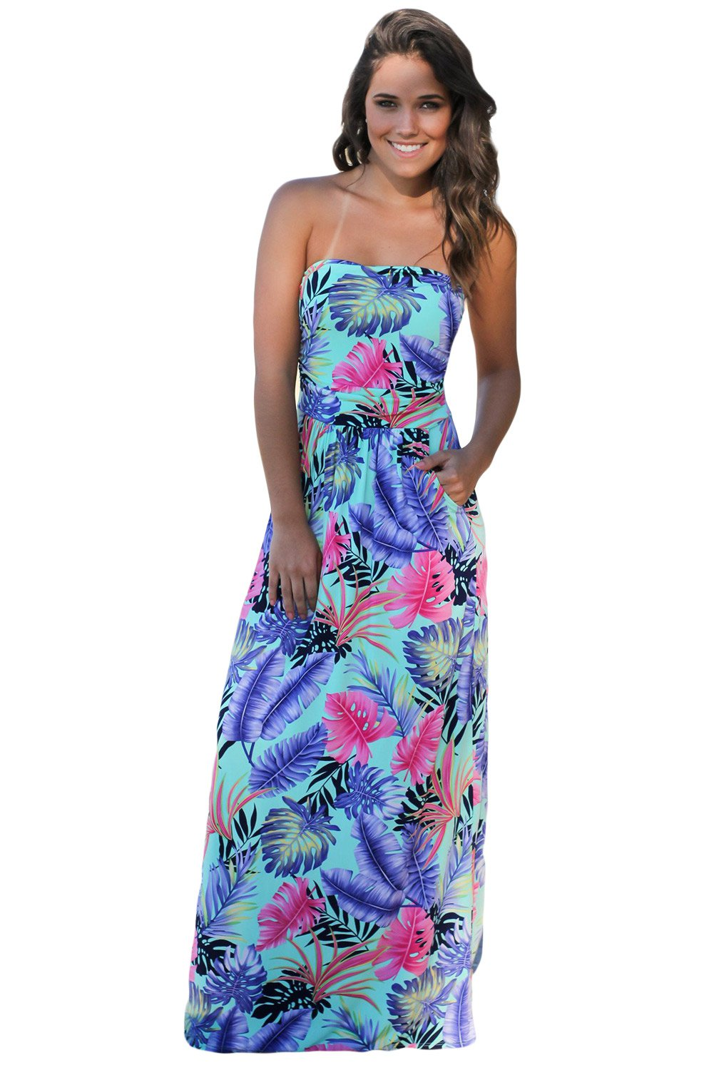 Mint Tropical Strapless Maxi Dress with Pockets