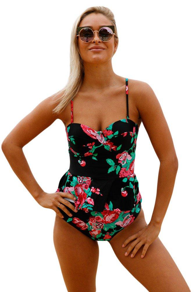 Floral Print Black Flounce Tankini Swimsuit