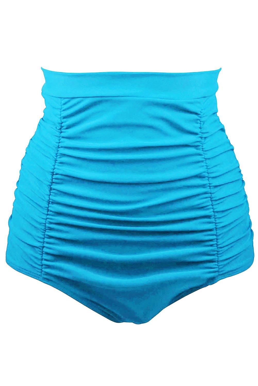 Sky Blue Retro High Waisted Swim Short