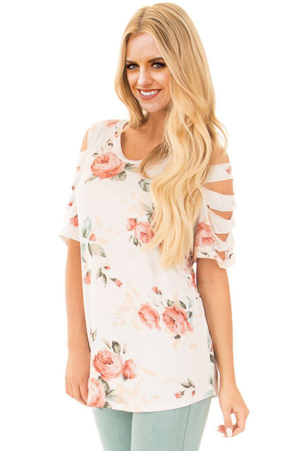Ladder Cutout Sleeve Ivory Floral Top