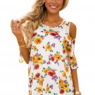 Yellow Pink Floral Print White Background Womens Top