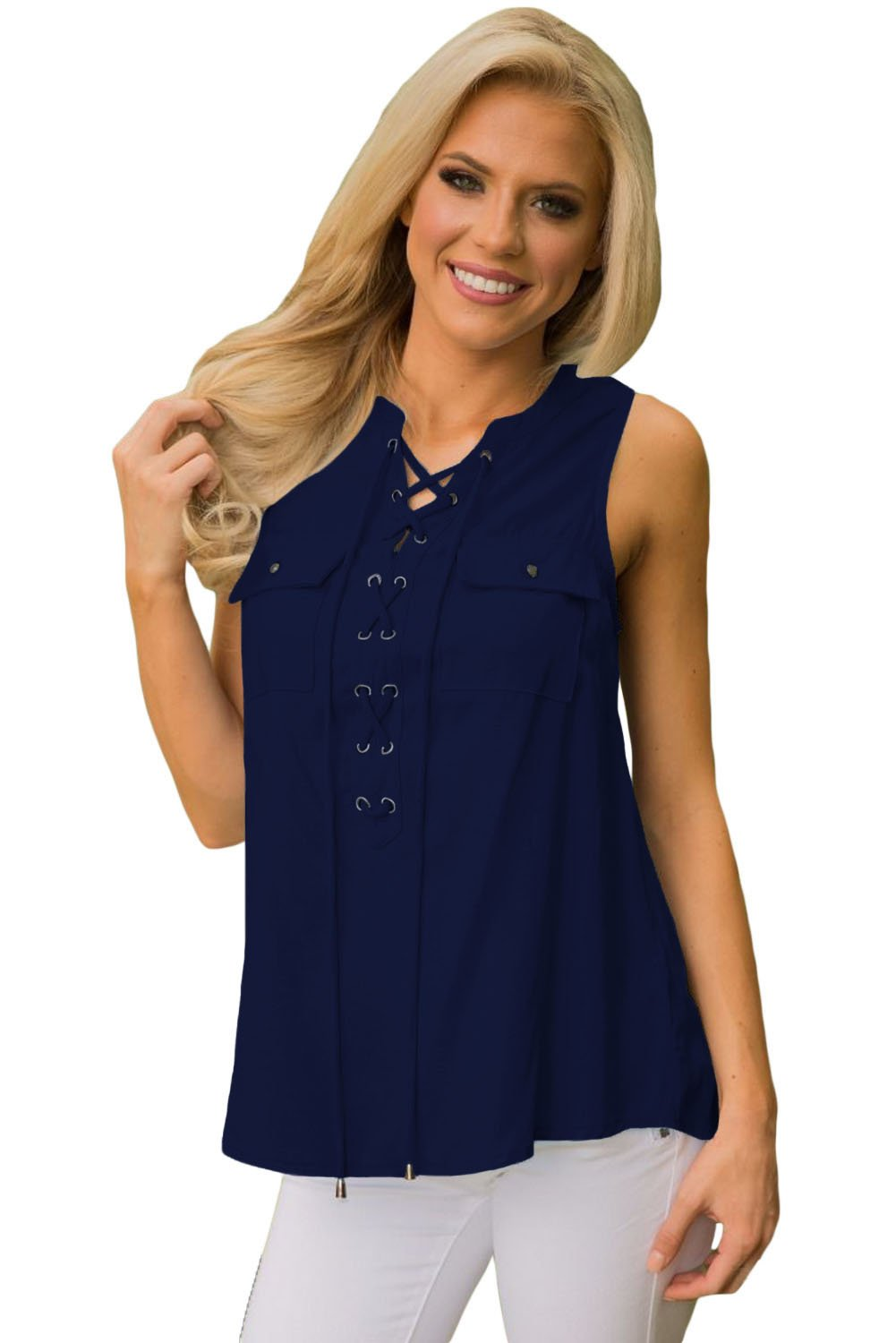 Blue Sleeveless Tank Top with Lace up