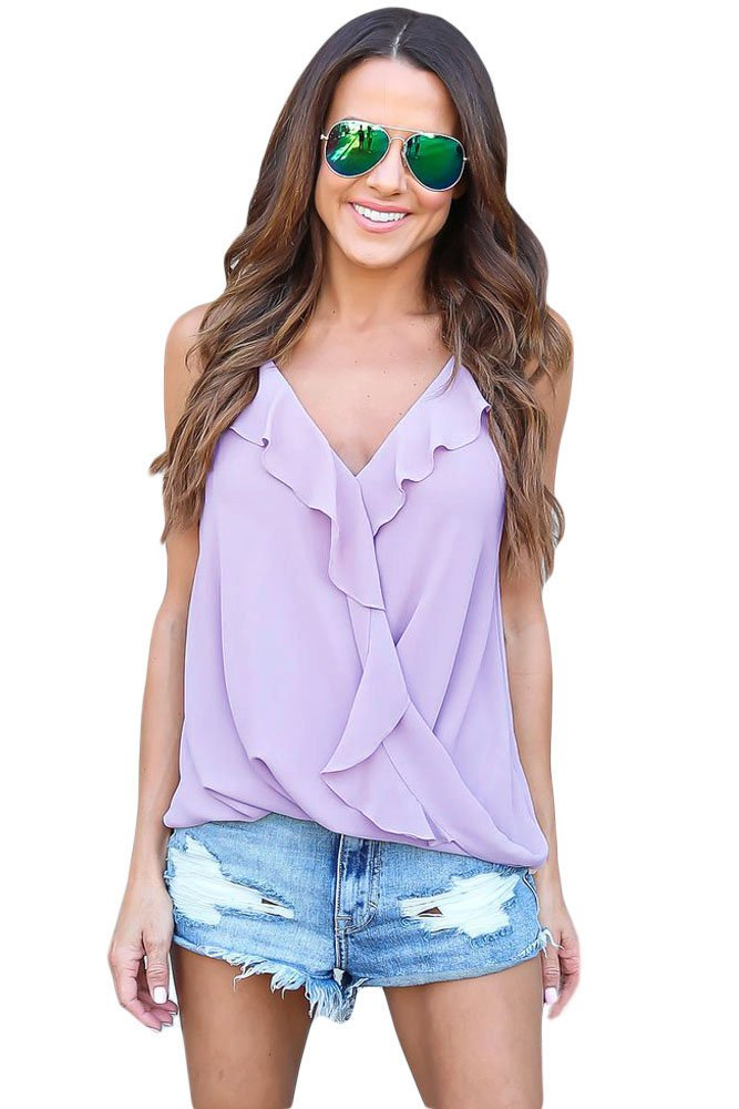 Violet Wrapped Ruffle Tank