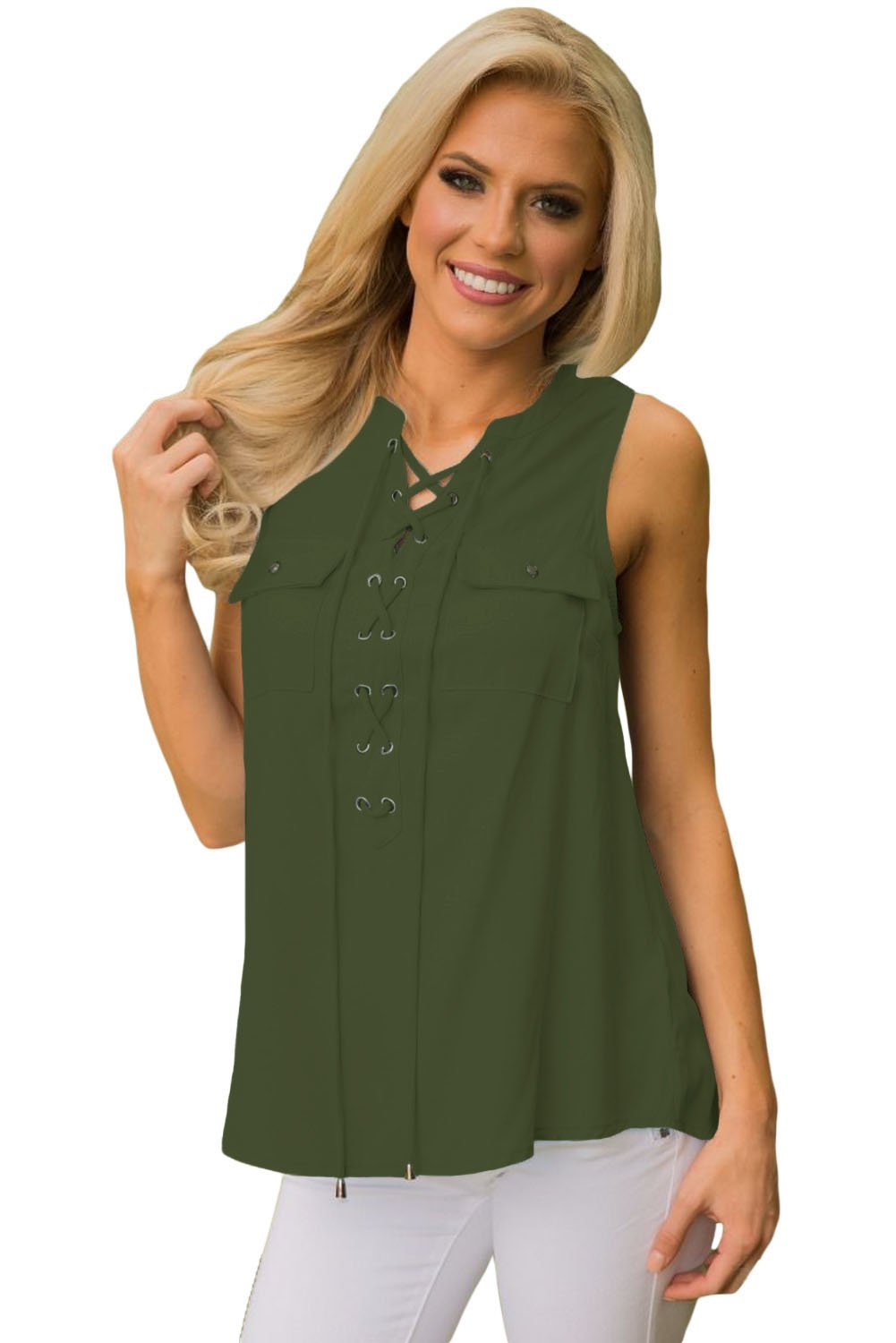 Mint Sleeveless Tank Top with Lace up