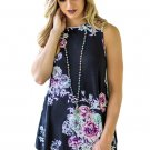 Black Floral Print High Neck Tank Top