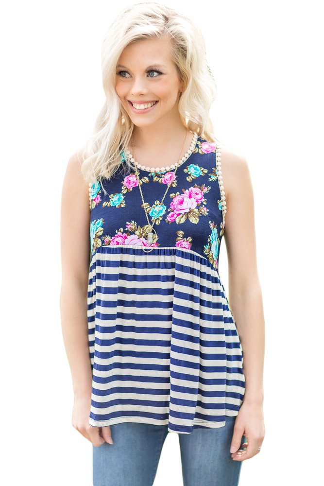 Navy Stripes and Floral Womens Tank