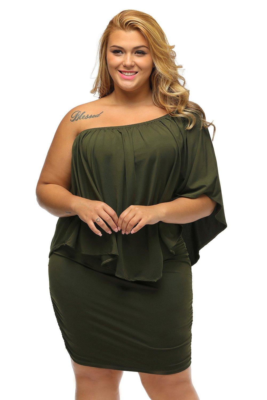Plus Size Multiple Dressing Layered Army Green Mini Dress