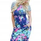 Royal Blue Striped Short Sleeve Body-hugging Floral Dress