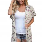 Pom-pom Trim Short Sleeve Floral Beachwear