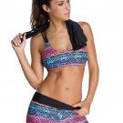 New Arrival Multicolor Sports Bra Tankini Swimsuit with Black Vest
