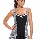 Monochrome Print Hourglass 1pc Swimdress Swimsuit