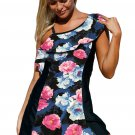 Chic Floral Print 1pc Swim Dress with Shorts