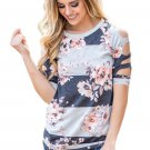 Ladder Cutout Sleeve Grey Colorblock Floral Top