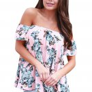 Pink Blue Floral Off Shoulder Blouse