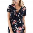 Black Floral Grommet Lace Up V Neck Loose Shirt