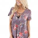 Taupe Floral Grommet Lace Up V Neck Loose Shirt