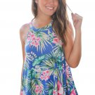 Blue Tropical Print Flowy Tank Top