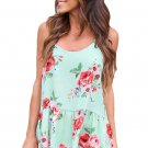 Flounced Light Green Floral Racerback Tank