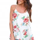 Flounced White Floral Racerback Tank