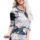 Charcoal Grey Bold Stripe Light Floral Shirt