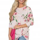 Beige Long Sleeve Knotted Floral Print Blouse