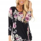 Black Long Sleeve Knotted Floral Print Blouse