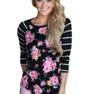 Black Striped Sleeves Floral Top
