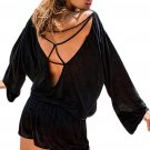 Black Oversize Bodice Long Sleeve Hollow-out Back Romper
