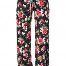 Dark Floral Terry Wide Leg Pants