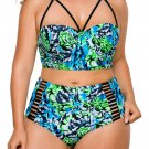 Plus Size Blue Green Print High Waist Bikini Swimsuit