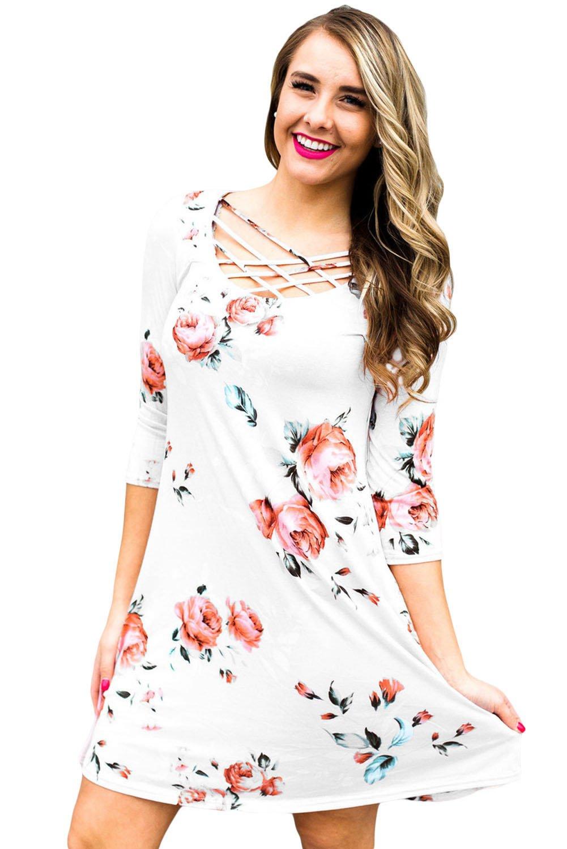 White Fence Neck Floral Print T Shirt Dress