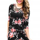 Black Fence Neck Floral Print T Shirt Dress