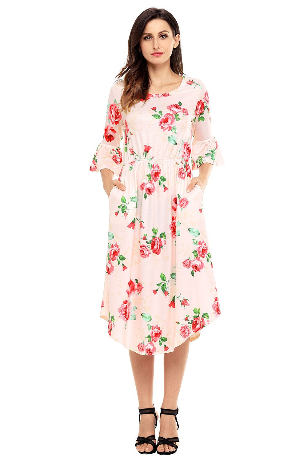 Pink 3/4 Bell Sleeve Floral Midi Dress
