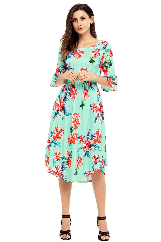 Green 3/4 Bell Sleeve Floral Midi Dress