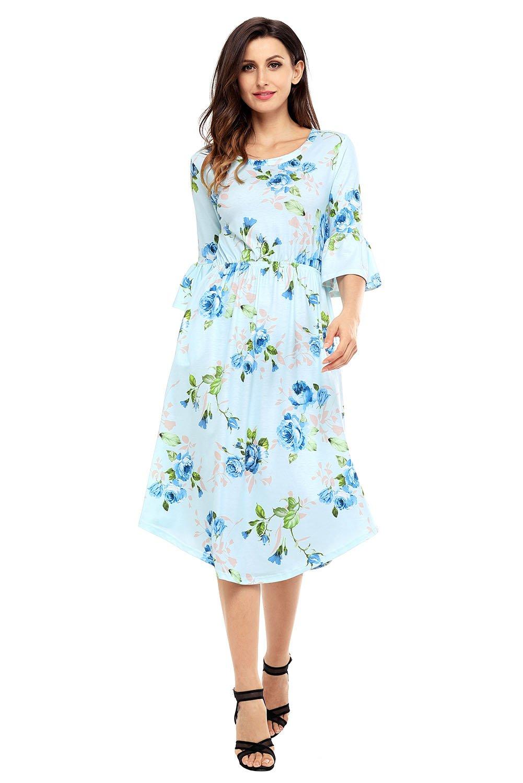Light Blue 3/4 Bell Sleeve Floral Midi Dress