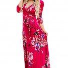 Scarlet Floral Print Wrapped Long Boho Dress