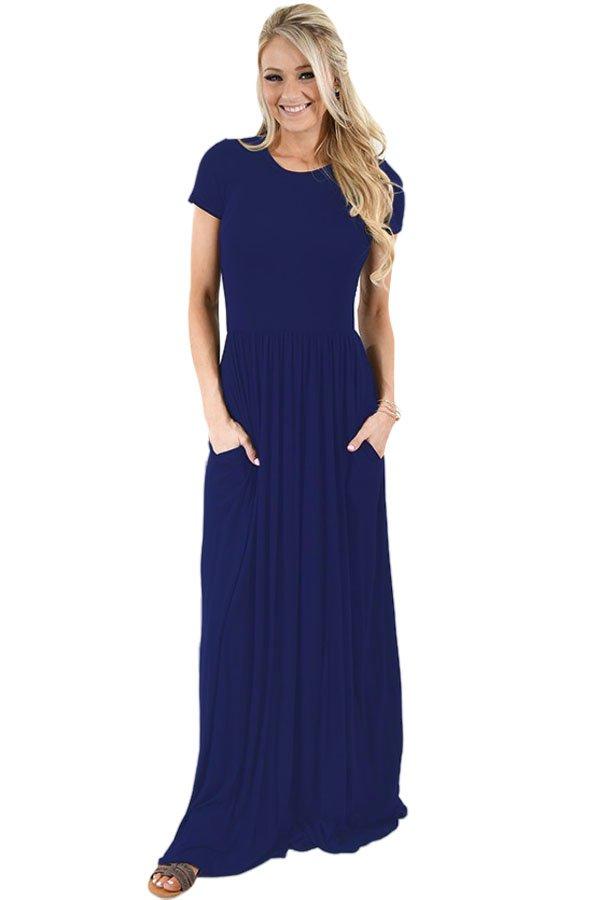 Navy Blue Short Sleeve Ruched Waist Maxi Dress