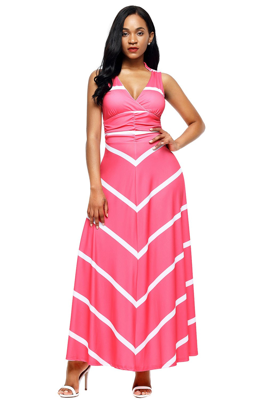 Pink V Neck Cut out Back Printed Maxi Dress