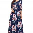 Classic Floral Print Navy 3/4 Sleeve Maxi Dress.