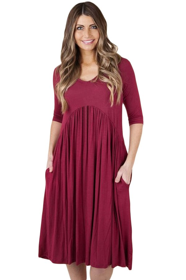 Wine 3/4 Sleeve Draped Swing Dress