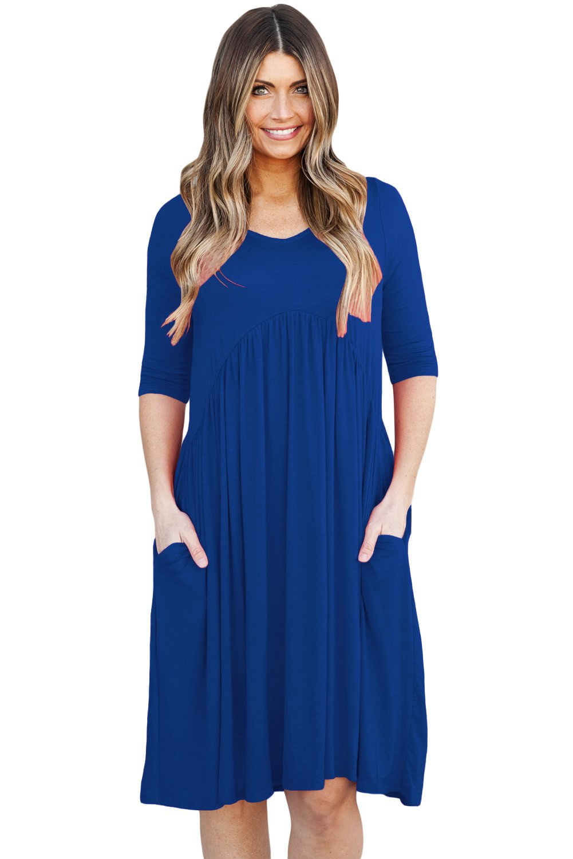 Blue 3/4 Sleeve Draped Swing Dress