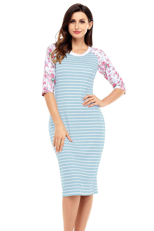 Blue White Stripe Floral Sleeve Midi Dress