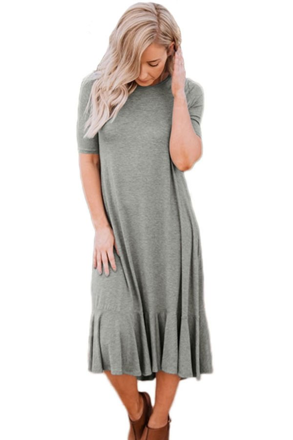 Grey Flowy Ruffles Short Sleeve Casual Dress